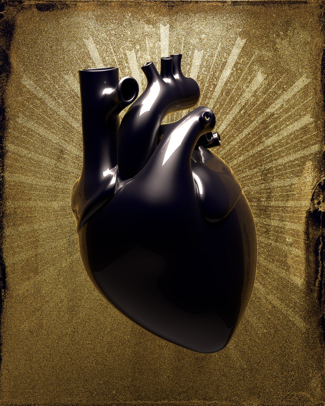 Rendering of a heart graphic using Maxwell Render